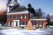 Colonial Style House Plan - 3 Beds 2 Baths 1838 Sq/Ft Plan #25-4853 Exterior - Front Elevation