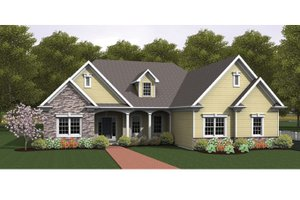 Ranch Exterior - Front Elevation Plan #1010-34
