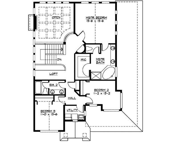 Craftsman Floor Plan - Upper Floor Plan Plan #132-219