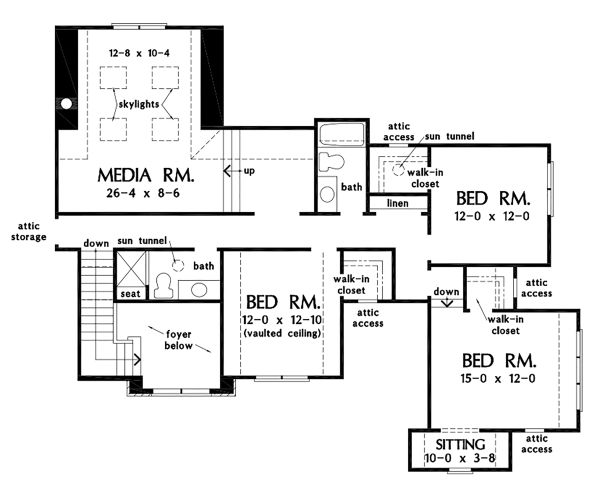Traditional Floor Plan - Upper Floor Plan Plan #929-1101
