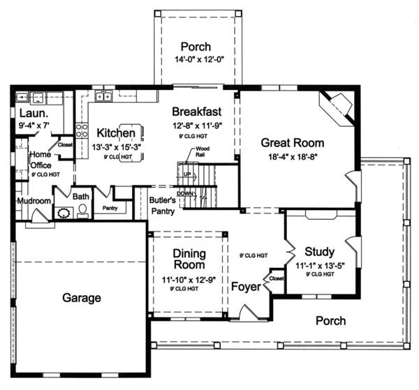 Traditional Floor Plan - Main Floor Plan Plan #46-848