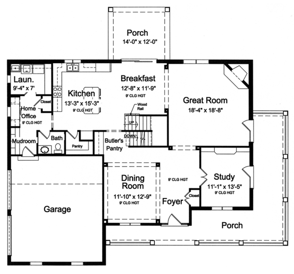 Architectural House Design - Traditional Floor Plan - Main Floor Plan #46-848