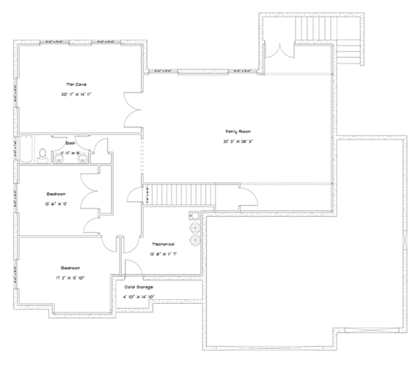 Ranch Floor Plan - Lower Floor Plan Plan #1060-30