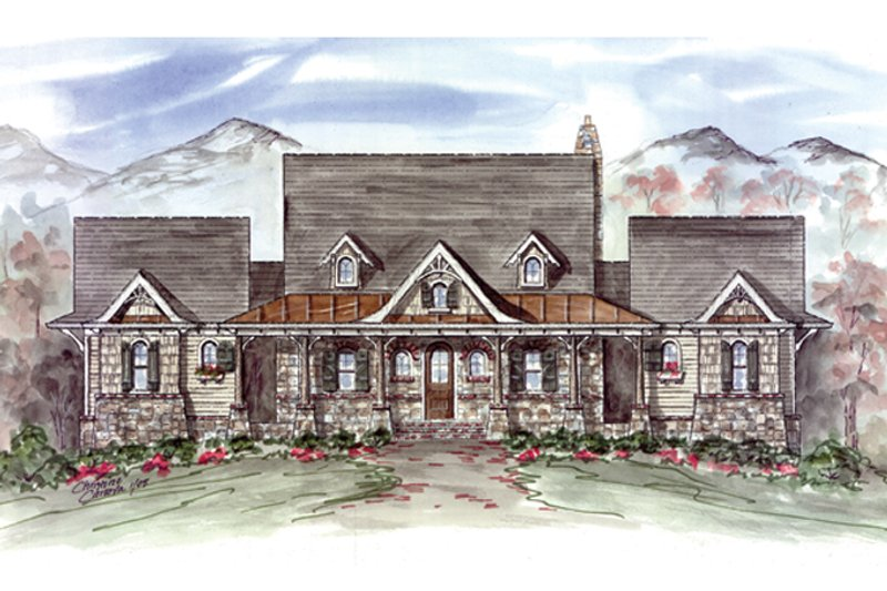 Craftsman Exterior - Front Elevation Plan #54-372