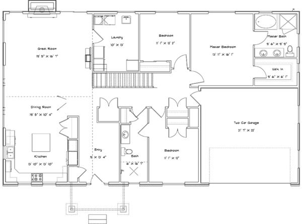 Traditional Floor Plan - Main Floor Plan Plan #1060-20