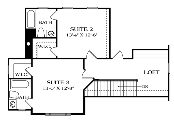 Craftsman Floor Plan - Upper Floor Plan Plan #453-625