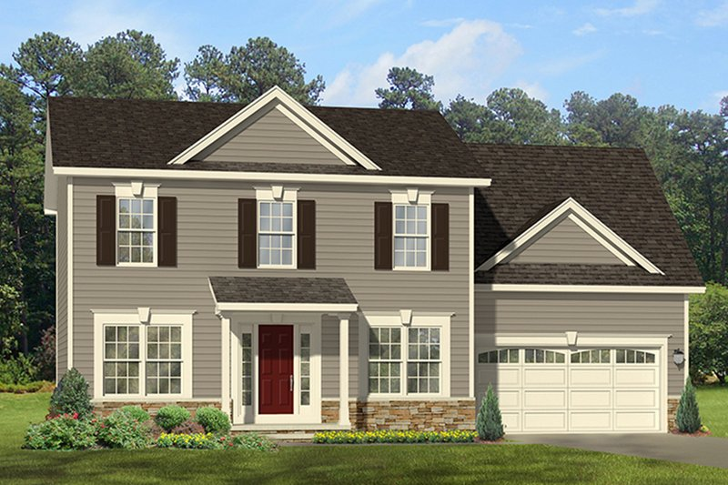 Architectural House Design - Colonial Exterior - Front Elevation Plan #1010-116