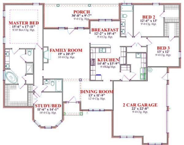 European Floor Plan - Main Floor Plan Plan #63-174