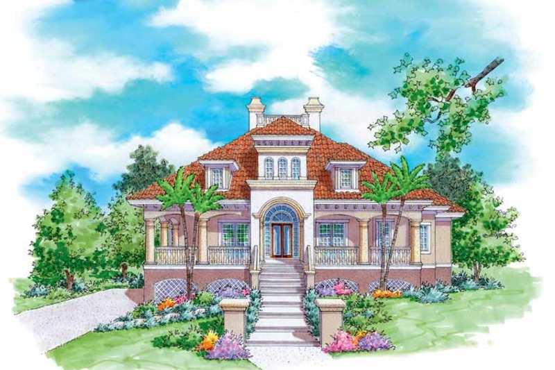 Mediterranean Exterior - Front Elevation Plan #930-170