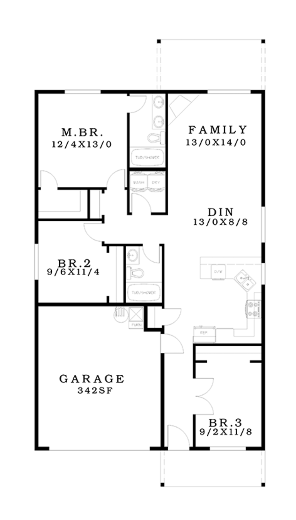 Ranch style house plan 3 beds 2 baths 1258 sq ft plan for Main floor