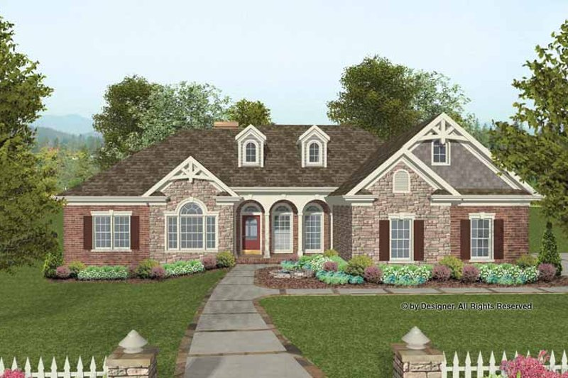 Architectural House Design - Craftsman Exterior - Front Elevation Plan #56-687