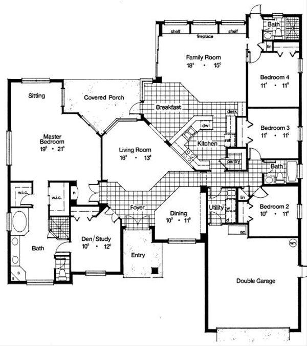 Mediterranean Floor Plan - Main Floor Plan Plan #417-327
