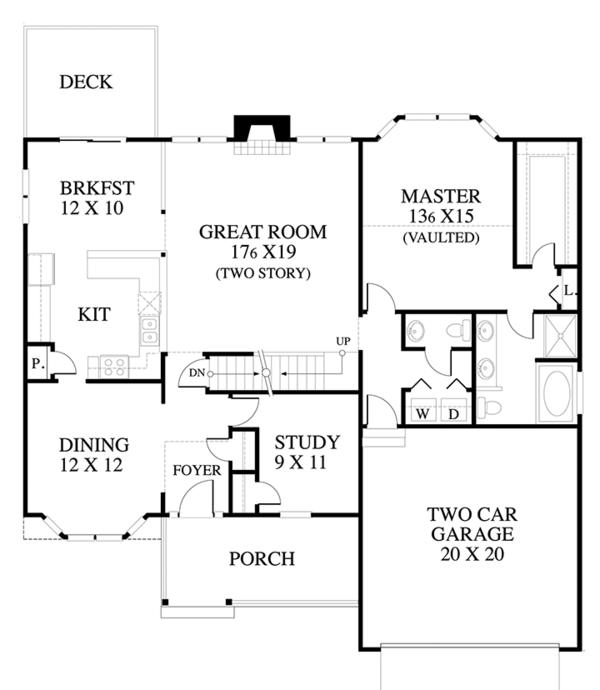 Country Floor Plan - Main Floor Plan Plan #1053-60