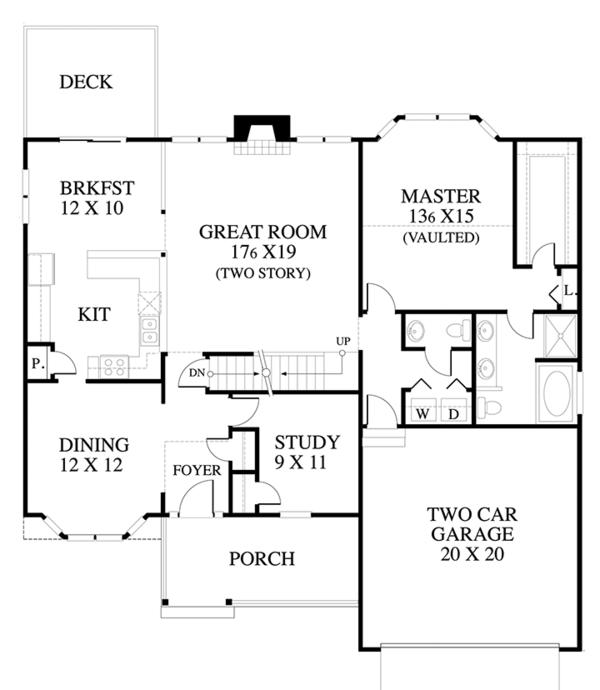 Country Floor Plan - Main Floor Plan Plan #1053-60