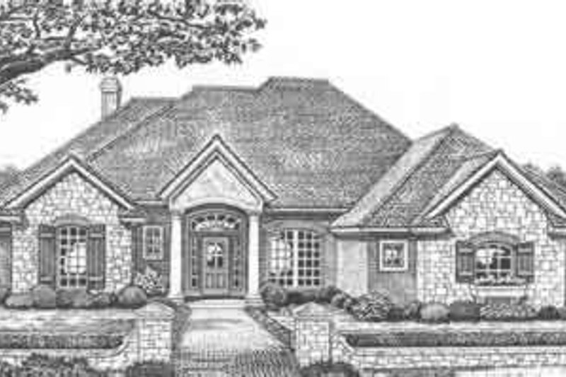 European Style House Plan - 4 Beds 3 Baths 2215 Sq/Ft Plan #310-406 Exterior - Front Elevation
