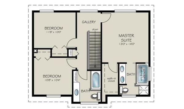 Country Floor Plan - Upper Floor Plan Plan #427-3