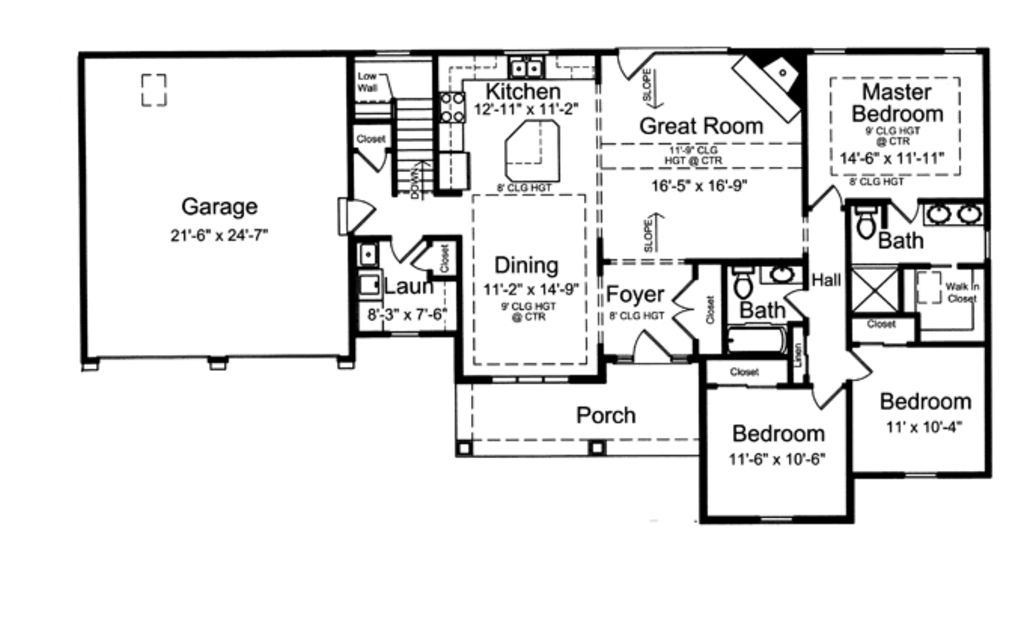 Craftsman style house plan 3 beds 2 baths 1593 sq ft for 840 sq ft house plans