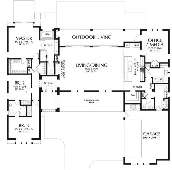 Contemporary Floor Plan - Main Floor Plan Plan #48-958