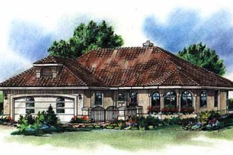 House Blueprint - Mediterranean Exterior - Front Elevation Plan #18-1005