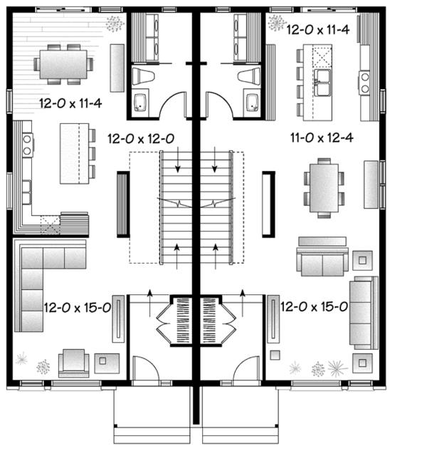 Contemporary Floor Plan - Main Floor Plan Plan #23-2598