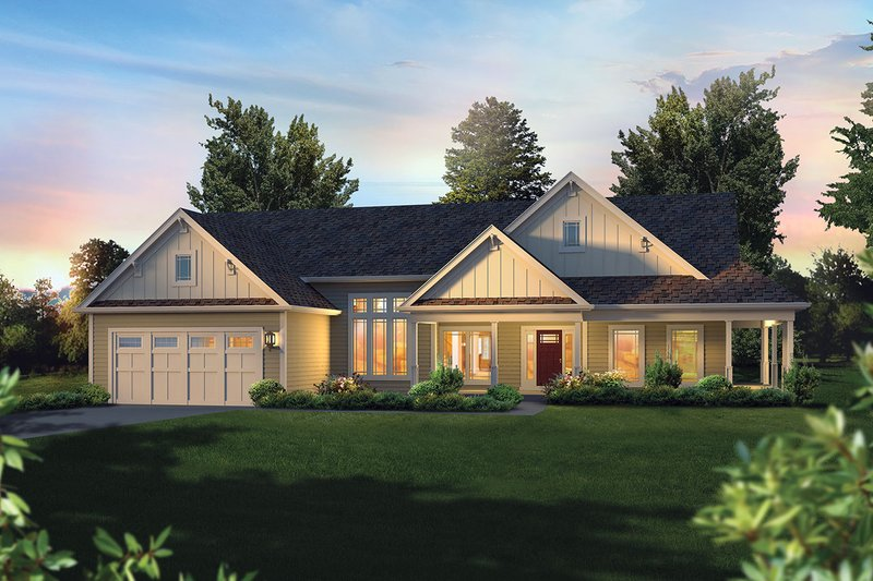 Dream House Plan - Craftsman Exterior - Front Elevation Plan #57-648