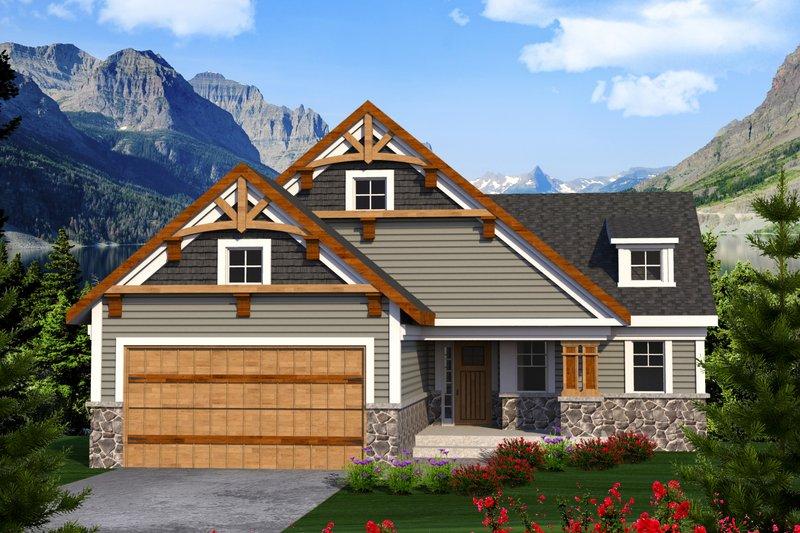 Architectural House Design - Craftsman Exterior - Front Elevation Plan #70-1213