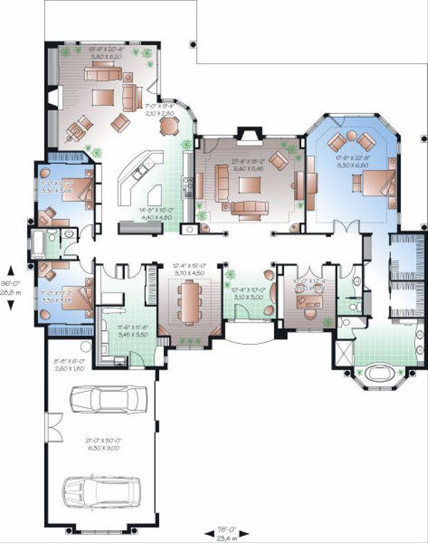 Mediterranean Floor Plan - Main Floor Plan Plan #23-788