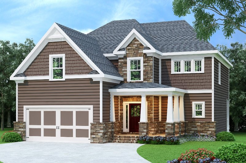 Craftsman Style House Plan - 4 Beds 3 Baths 2510 Sq/Ft Plan #419-201 Exterior - Front Elevation