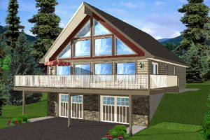 Cottage Exterior - Front Elevation Plan #126-167