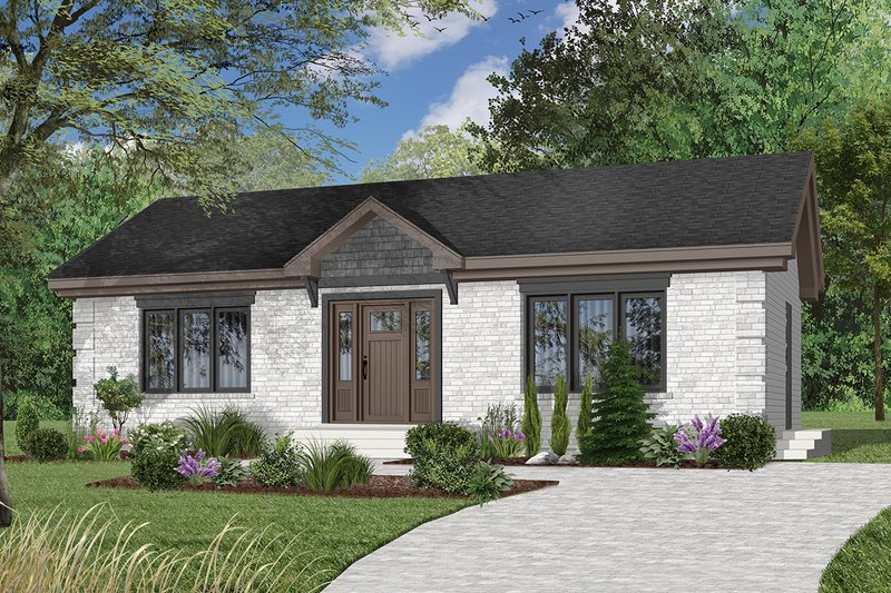 Cottage Style House Plan - 2 Beds 1 Baths 1064 Sq/Ft Plan #23-691 Exterior - Front Elevation