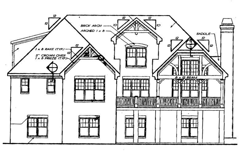 Traditional Exterior - Rear Elevation Plan #927-6 - Houseplans.com