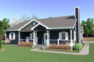 Dream House Plan - Farmhouse Exterior - Front Elevation Plan #57-117