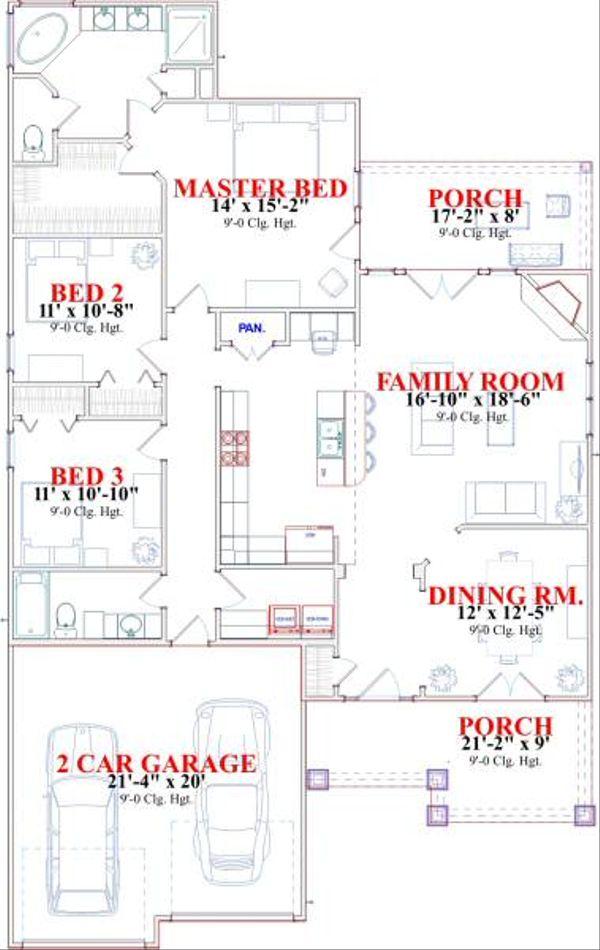 Bungalow Floor Plan - Main Floor Plan #63-133
