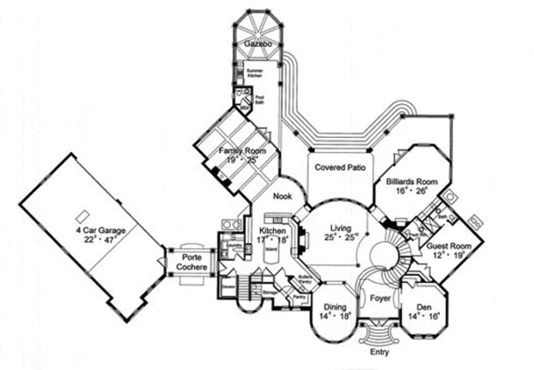 European Floor Plan - Main Floor Plan Plan #417-798