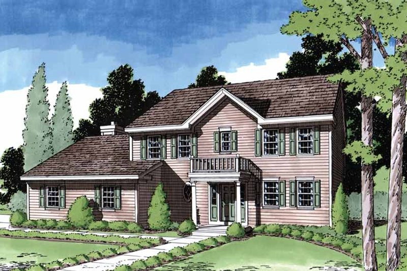 Colonial Exterior - Front Elevation Plan #1029-4