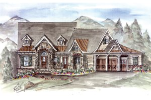 Craftsman Exterior - Front Elevation Plan #54-373