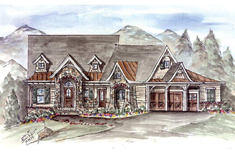 Dream House Plan - Craftsman Exterior - Front Elevation Plan #54-373