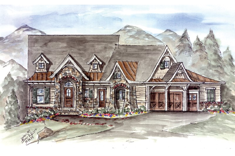 Dream House Plan - Craftsman Exterior - Front Elevation Plan #54-373