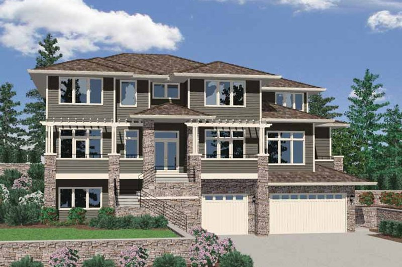 Prairie Exterior - Front Elevation Plan #509-421 - Houseplans.com