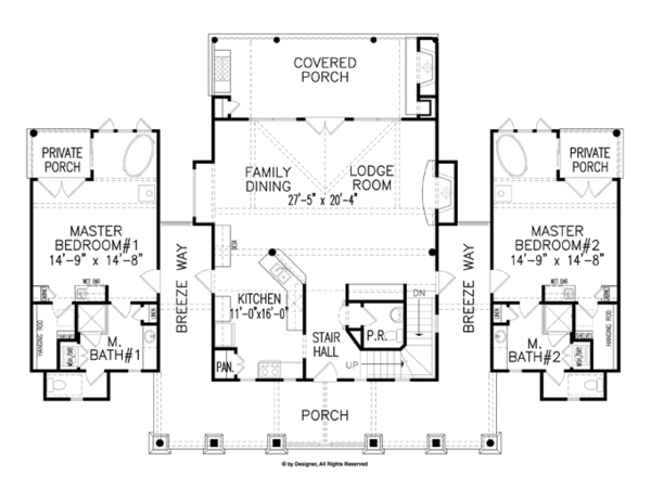Craftsman Floor Plan - Main Floor Plan Plan #54-372