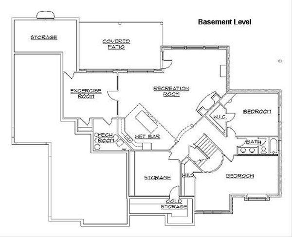 European Floor Plan - Lower Floor Plan Plan #5-229
