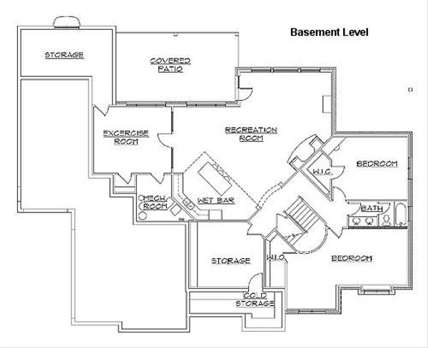 Architectural House Design - European Floor Plan - Lower Floor Plan #5-229