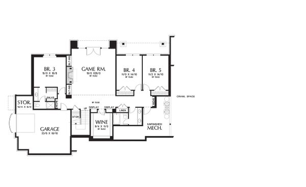Lower level floor plan - 5300 square foot Craftsman home