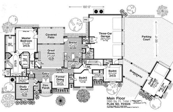European Floor Plan - Main Floor Plan Plan #310-1280