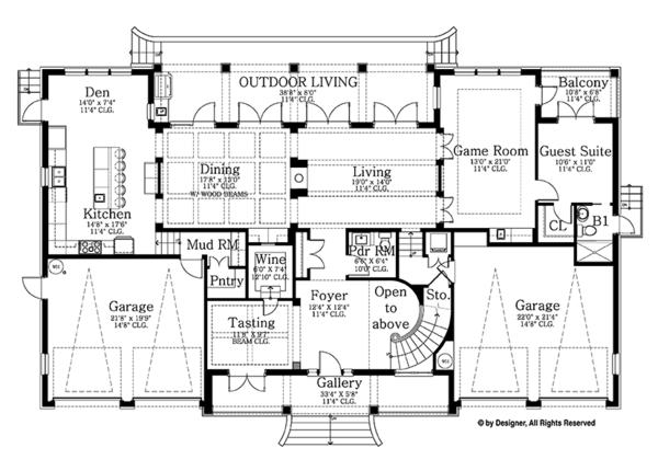 Colonial Floor Plan - Main Floor Plan Plan #1058-82