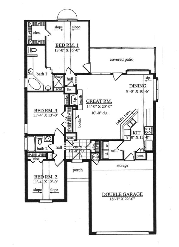 Home Plan Design - Traditional Floor Plan - Main Floor Plan #42-725