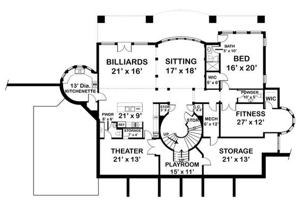 House Design - Classical Floor Plan - Lower Floor Plan #119-363