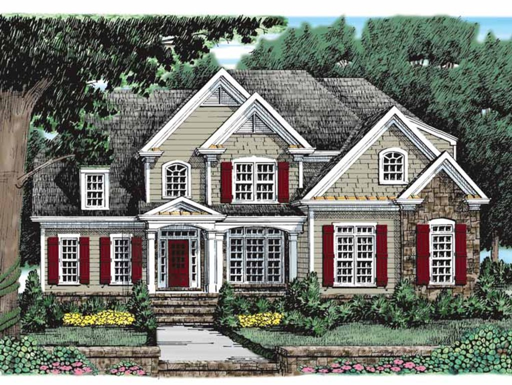European style house plan 4 beds 3 baths 2696 sq ft plan for New american house plans