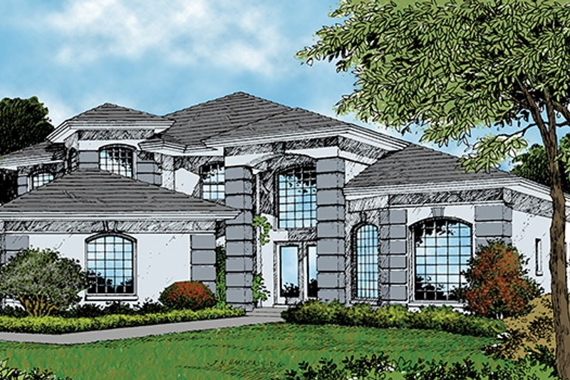 Mediterranean Exterior - Front Elevation Plan #417-544