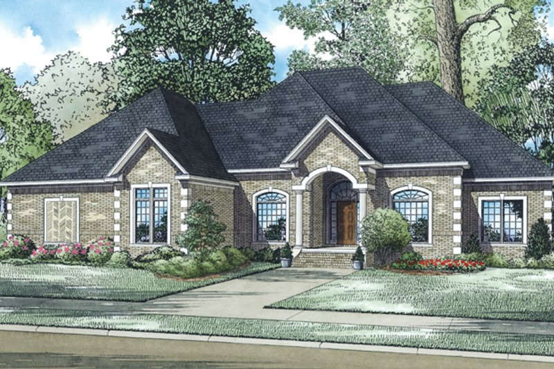 European Exterior - Front Elevation Plan #17-2964